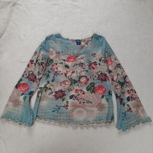 High Sierra V-Neck Floral Blouse Size L